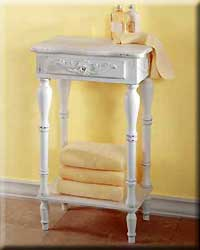 Carved White Side Table