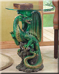 Dragon Table with Round Glass Top