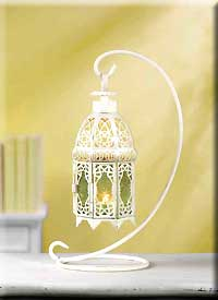 White Fancy Lantern with Stand
