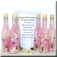 Message Bottle Invitation Butterfly Bear