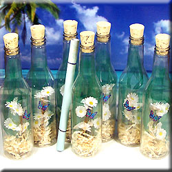 MESSAGE BOTTLE INVITATION SPRINGTIME DAISIES