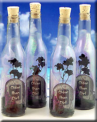 Older Than Dirt Tombstone Plastic Bottle Invitation